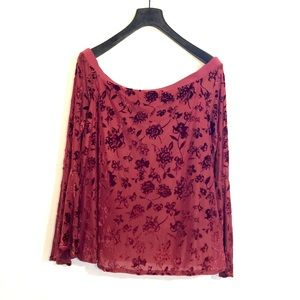 [Knox Rose] Maroon Sheer Floral Off Shoulder - XL
